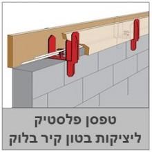 טפסן פלסטיק לחגורות בטון בקיר בלוקים